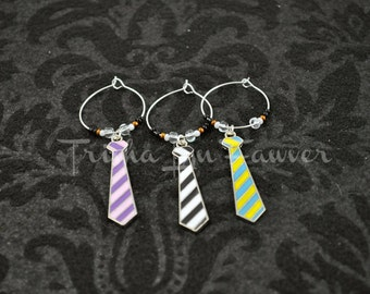 Neckties Drink Glass Charms (#1)