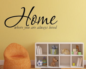 Vinyl wall decal Home where you are always loved wall quote decor   D30