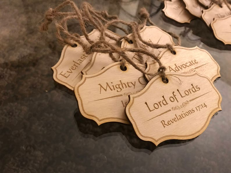 Etsy Christmas Ornaments.Names Of Christ Christmas Ornaments Set Of 24 Advent Set Wooden Ornaments Christmas Gift Names Of Christ Ornaments