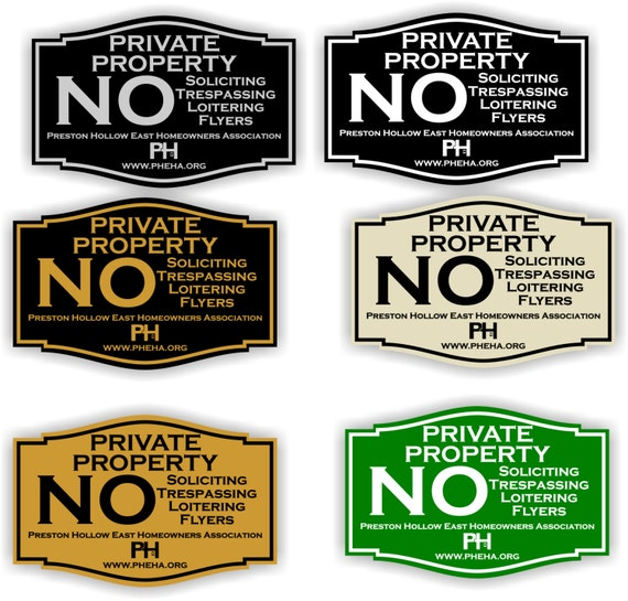 private property no soliciting no trespassing no flyers sign 3 x 4 5