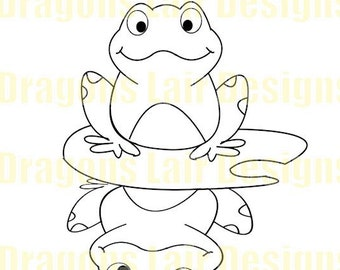 INSTANT DOWNLOAD Digi Stamps Digital Stamps Hoppy the Frog on Lily Pad Digital Stamp by Dragons Lair Designs