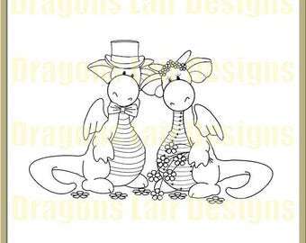 INSTANT DOWNLOAD Digital Stamps Dragons Wedding Day Digital Stamp by Dragons Lair Designs - Love, Valentine, Hearts, Heart, Marriage
