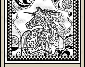 Zentangle Horse Digital Stamp