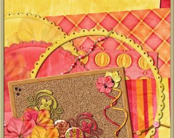 INSTANT DOWNLOAD - Dragons Lair Designs - Girls World Digital Mini Kit, Pink, Yellow, Orange, Flowers, Girly,