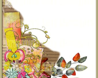 Artistic Expressions Corner Digital Embellishment- Pink Yellow Blue Orange  - INSTANT DOWNLOAD