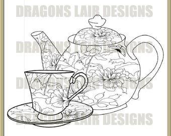 INSTANT DOWNLOAD Digi Stamps Digital Stamps Art Nouveau Teaset 1 Digital Stamp by Dragons Lair Designs - Tea, Teapot, Teacup, Cups, Saucers