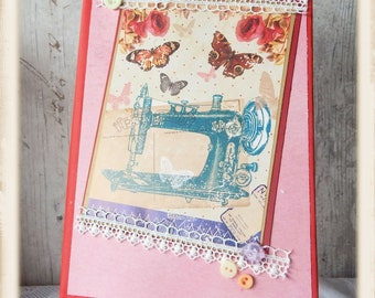 OOAK A5 Altered Notebook perfect as a cross stitch journal or a sewing journal