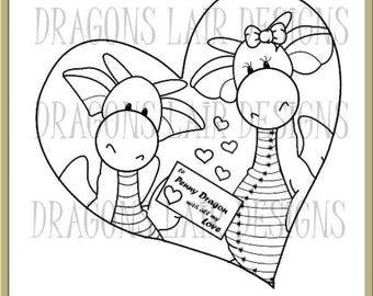 INSTANT DOWNLOAD Digital Stamps Dragon Valentine Delivery Digital Stamp by Dragons Lair Designs - Love, Valentine, Hearts, Heart, Marriage