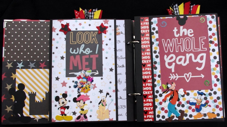 Disney Vacation Mickey Mouse Premade Scrapbook Album Journal Cards