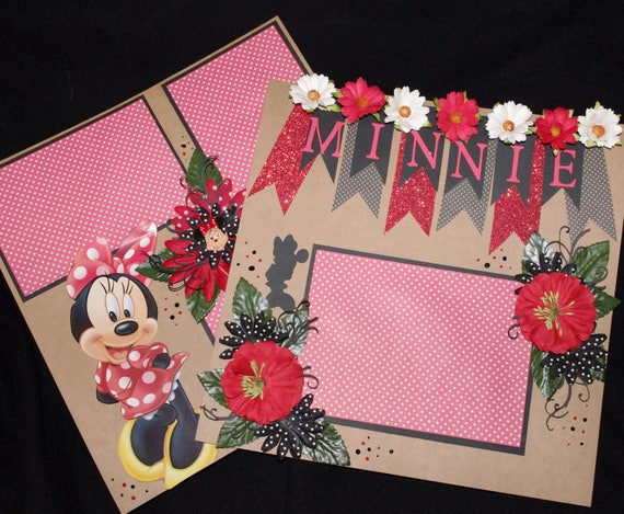 Disney Minnie Mouse 212x12 Premade Scrapbook Layouts Etsy