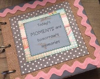"""handmade chipboard  6X6 scrapbook album """"memories"""""""