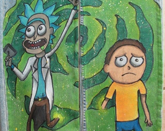 Rick and Morty, custom jeans, custom clothes, hand drawn jeans, hand painted jeans, hand drawn clothes, hand painted clothes, cartoon,
