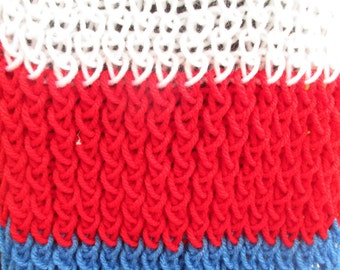 knitted scarf, red white and blue, 4th of july, scarf, hand made scarf, american, american scarf, red scarf, blue scarf, white scarf,