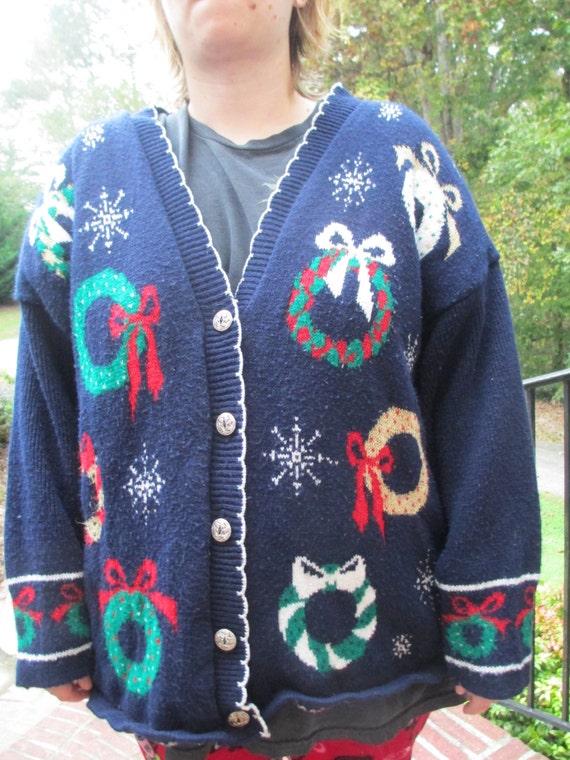 Christmas wreath sweater, tacky Christmas sweater,