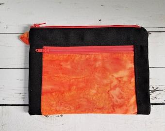 Devon Pouch, Zipper Pouch, Double Zipper Pouch, Makeup Bag, Wristlet, Bag Organizer, Cellphone Wristlet, Canvas Pouch, Waterproof Lining