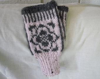 Fingerless Gloves Pink Grey Half Mittens