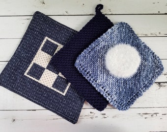 Quilted Potholder, Crochet Potholder, Knit Dishcloth, Pot Scrubber, Quilted Hot Pad, Kitchen Set, Pot Scrubbie, Pot Scrubby