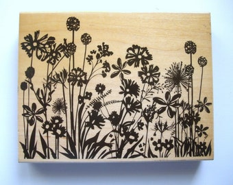 Meadow Flowers Rubber Stamp DesignBlock Silhouette Hero Arts 14.5 x 11 cm (Champ des fleurs)
