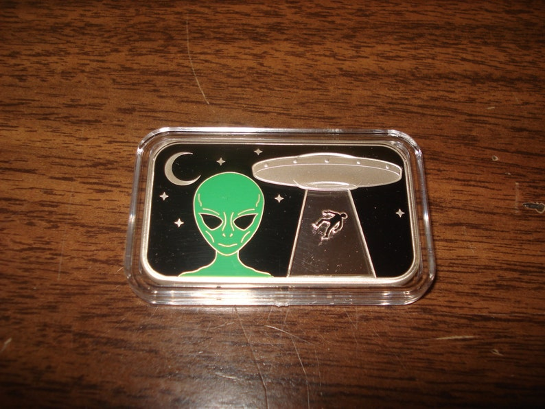 Well It's Here My UFO  1 oz .999 Pure Silver Enamel image 0