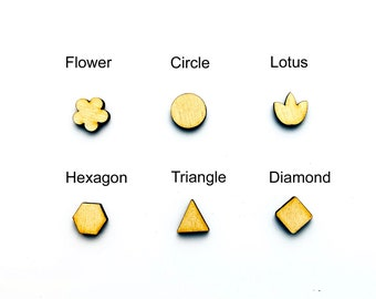 10 PC Wood Stud Earrings - Flower Round Diamond Square Hexagon Lotus Triangle - Unfinished Blanks