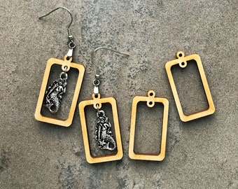 Wood Double Hole Rectangle Frames for Earrings and Small Pendants | Unfinished Blanks