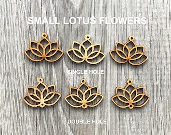 Small Wood Lotus Flower Earrings Blanks - Laser Cut - Double or Single Hole