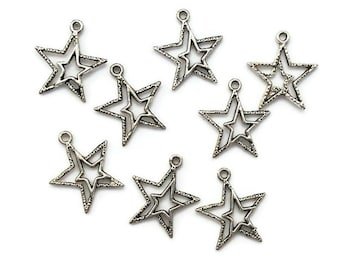 18 pc Double Star Charms - Antiqued Silver Tone