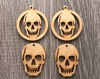 Halloween Wood Skull Earrings or Pendant or Decor Ornament Blanks | Choice of 2 Designs