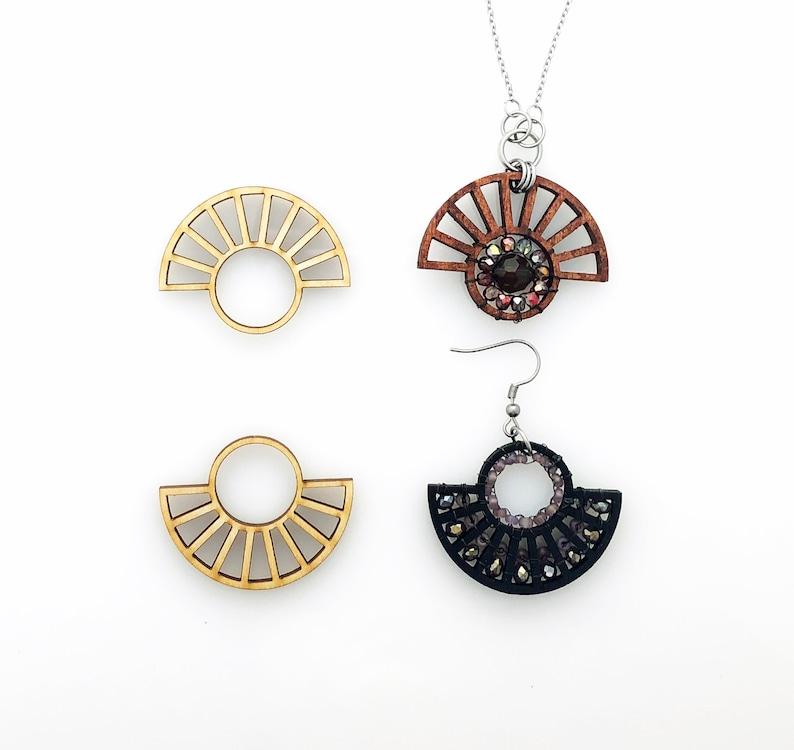 Pendants or Statement Earrings Large Wood Fan with Tribal Style Unfinished Blanks Half Wheel Frames