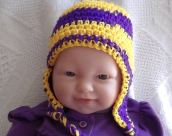 ae534f17b72 Purple and Gold Hat....Vikings Football Team... Earflaps    Braids...Minnesota....5 Sizes...Newborn up to 12 month Babies...NFL.