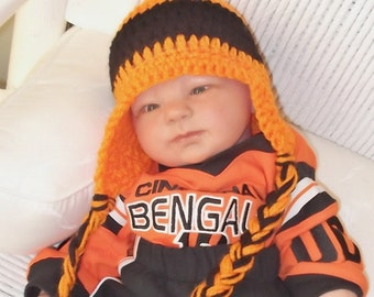 9bef5f972be Orange and Black Hat....Cincinnati.....Earflaps   Braids...Baby Bengals....5  Sizes...Newborn up to 12 month Babies...Boy or Girl...Halloween