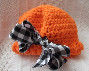 c772545d0ba Adorable....Colorful....Hot ORANGE.....0 to 3 Month Girl.....Black   White  Ribbon....Dressy Cap...Photo Prop...READY to SHIP now...Last 1