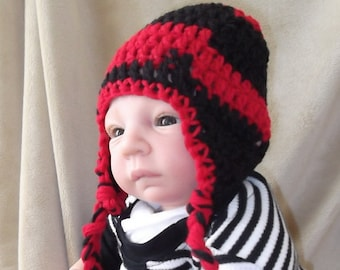 43f60adda89 Black and Red Hat....Baby Hat with Earflaps   Braids...Team Spirit...Cincy Bear  Cats.....Atlanta Falcons.....5 sizes..... Perfect Gift