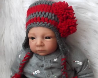 311bc86c2a6 Red   Dark Gray Hat.... Earflaps and Braids....Ohio State...BUCKEYES...0 up  to 3 Month Size... Baby Boy or Girl..Cute Pom Pom Accents