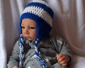 f1cc6a99e3e Royal Blue   White Hat.... Earflaps and Braids....XAVIER...Colts..Newborn  up to 12 Month Sizes... Baby Boy or Girl..Custom Colors Welcome
