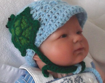 Adorable....Pastel Blue,,,,, Turtle Hat for Newborns.... READY TO SHIP......Boy or Girl