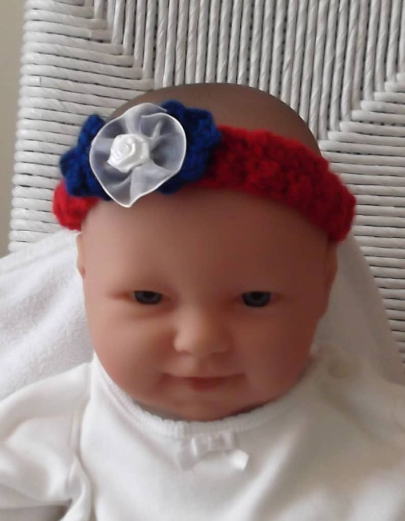USA.... White and Blue Headband 0 up to 3 Month Size....Military Baby....Red Patriotic Headband....