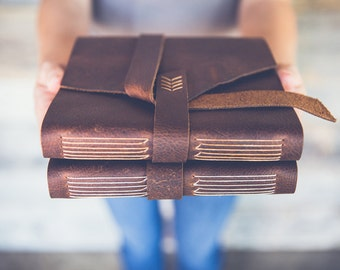 Leather photo album for Instagram photos, Polaroid pictures, and 4 x 6 prints. Pick your own leather and thread colors. (SHIPS IN 4-6 WEEKS)