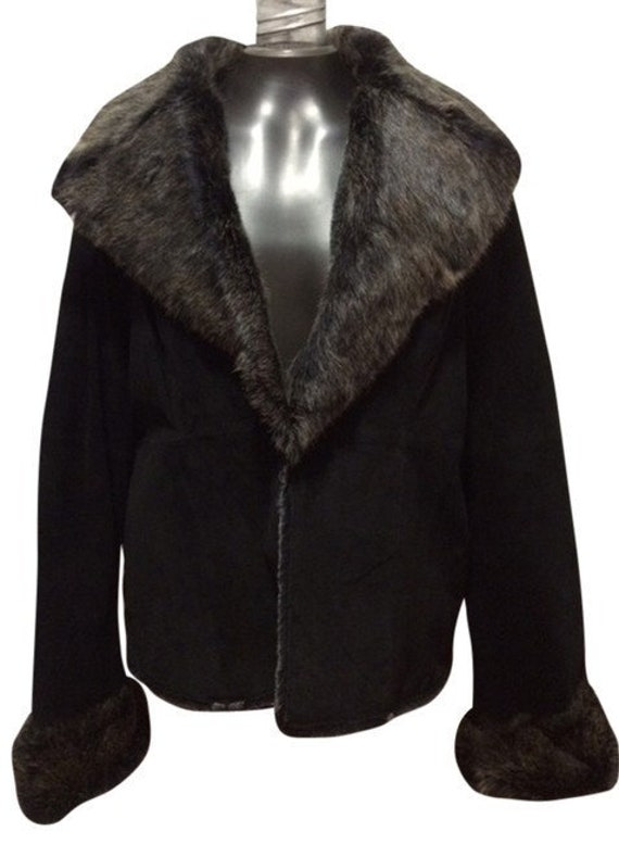 Suede Jacket with Fur Collar