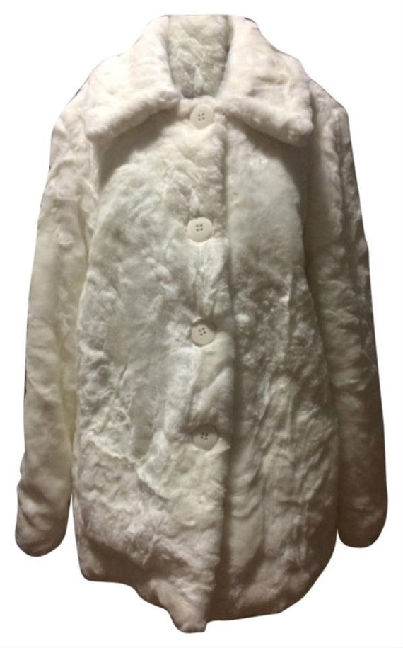 Vintage White Faux Fur Coat