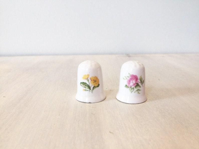 vintage bone china thimbles Vintage floral thimbles vintage china thimbles