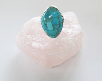 Sajen Sterling Turquoise Chip Ring -Asymetric Modern - Size 10 - Oversize Ring - Boho Statement Jewelry