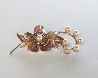 Art Deco Sterling Vermeil Flower Brooch - Fall Fashions - Sterling Jewelry