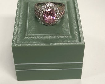 Sterling CZ Pink Oval Cut Cocktail Ring - Halo Setting - Sparkle Power - size 6+