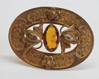 1900s Art Nouveau Gilt Flower Brooch Citrine Topaz Glass Stone