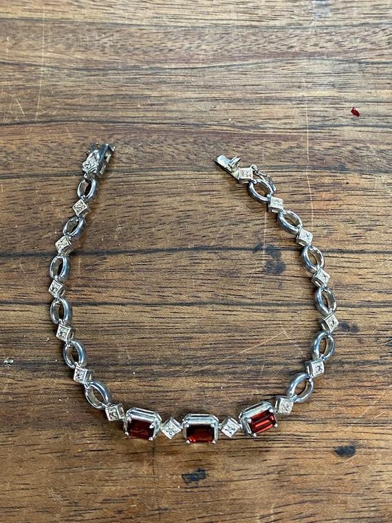 Sterling Silver Garnet Bracelet January Birthstone Modern Jewelry