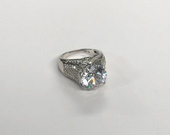 Size 6 Sterling CZ Solitaire Cocktail Stunner Ring - Statement Jewelry