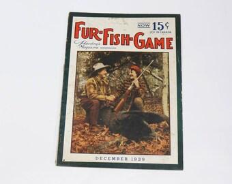 Fur Fish Game Harding's Magazine December 1939 - Vintage Hunting - Cabin Decor