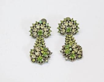 Hollycraft COPR 1950 Green Rhinestone Teardrop Chandelier Earrings - Screw Back - Peridot/Olive/Wintergreen - Holiday Fashions -Vintage