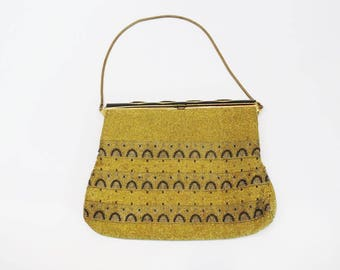 Unusual Art Deco Micro Beaded Purse - Made in France - Marcasite Detail on Closure - Chain - High Fashion
